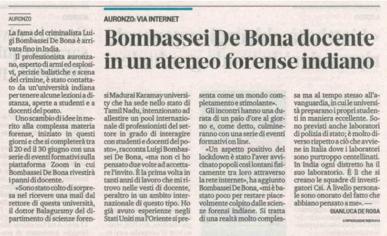docente ateneo Luigi Bombassei De bona Balistica Forense
