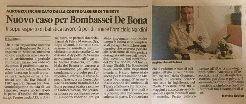 Perito balistico Luigi Bombassei De Bona Corte di Assise Omicidio Crimini