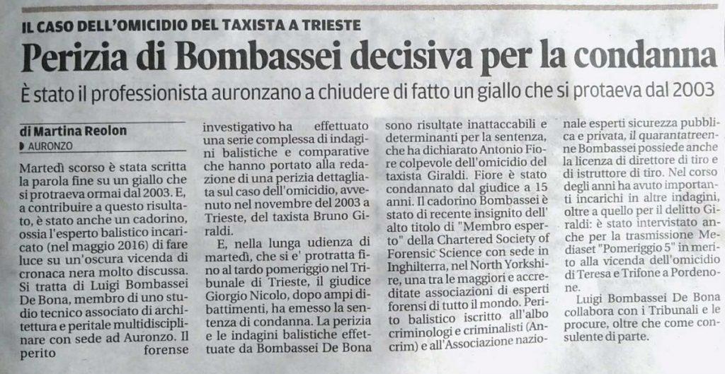 Omicidio Taxista Perito Balistico esplosivista forense Luigi Bombassei De Bona