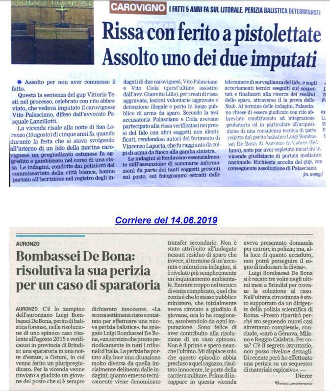 Luigi Bombassei De Bona Perito Balistico Brindisi tribunale