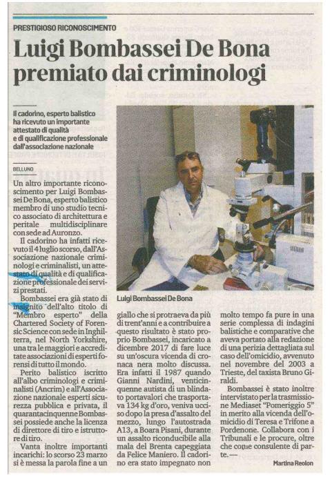 Criminologi criminalisti premio luigi bombassei de bona