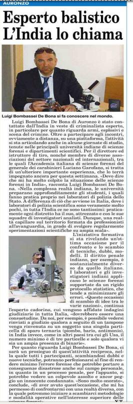 Incarico docenza india perito balistico criminalista Luigi Bombassei De bona